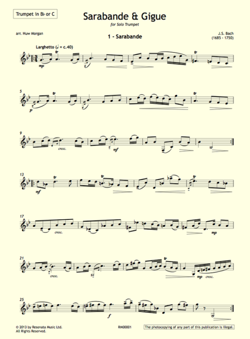 Bach - Sarabande & Gigue First Page