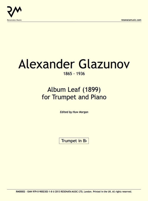 Glazunov - Album Leaf Inner Cover