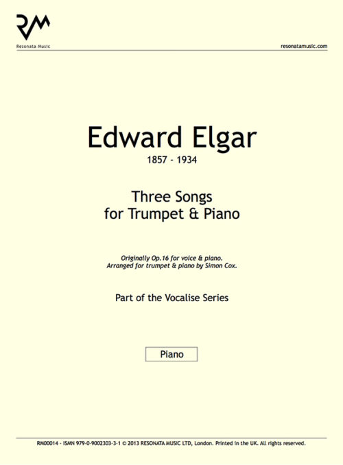 Elgar - Three Songs inner cover