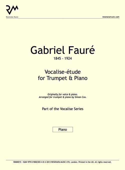 Faure - Vocalise-etude Inner Cover