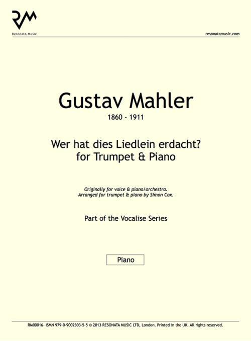 Mahler - Wer hat dies Liedlein inner cover