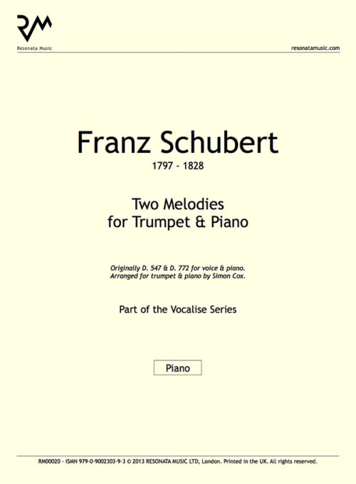 Schubert - Two Melodies inner cover