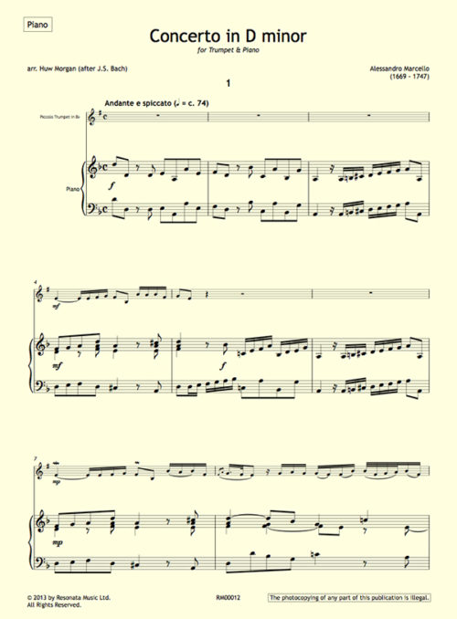 Marcello - Concerto first page