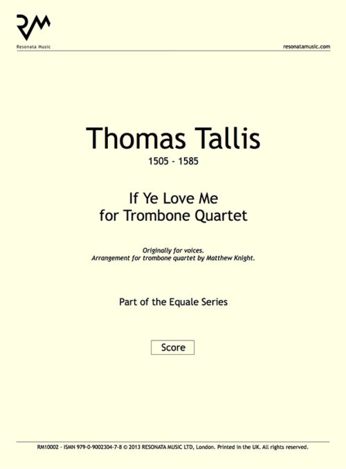 Tallis - If Ye Love Me inner cover