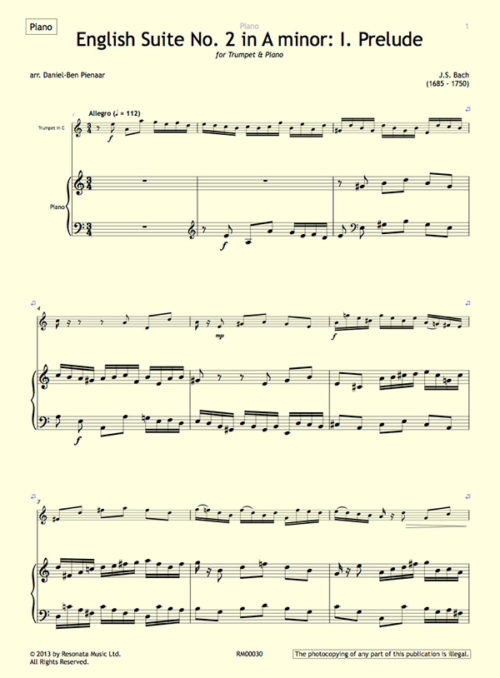 Bach - English Suite first page