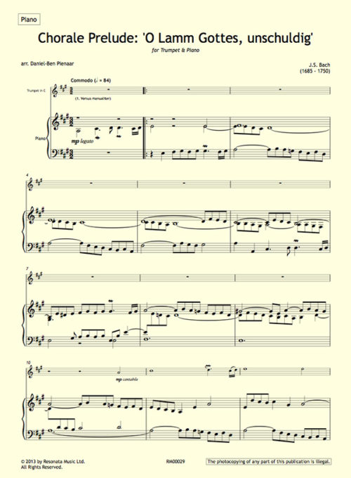 Bach - O lamm first page