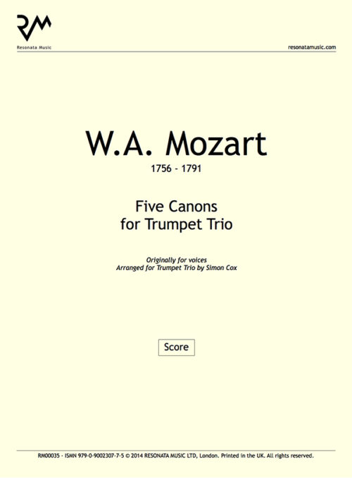 Mozart - Five Canons Inner Cover