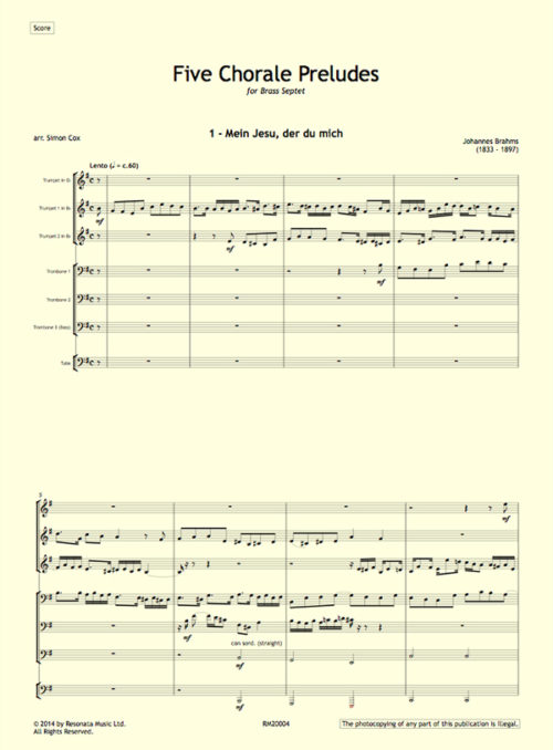 Brahms - Chorale Preludes first page