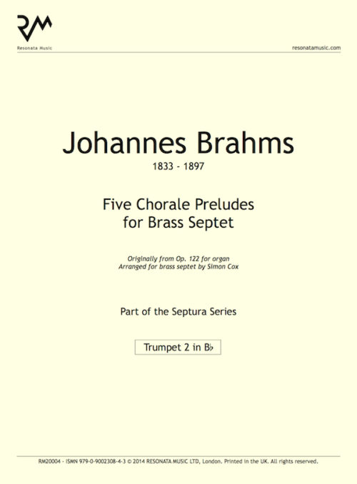 Brahms - Chorale Preludes inner cover