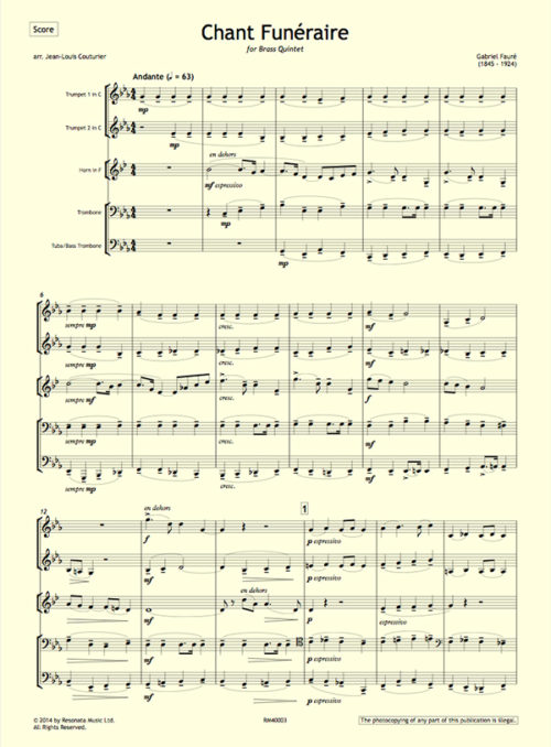 Faure - Chant first page