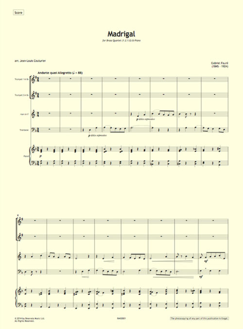 Faure - Madrigal first page