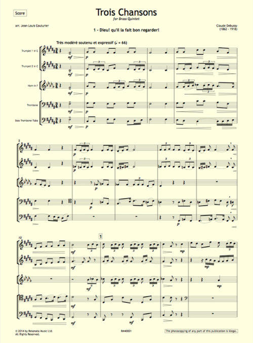 Debussy - Trois Chansons first page