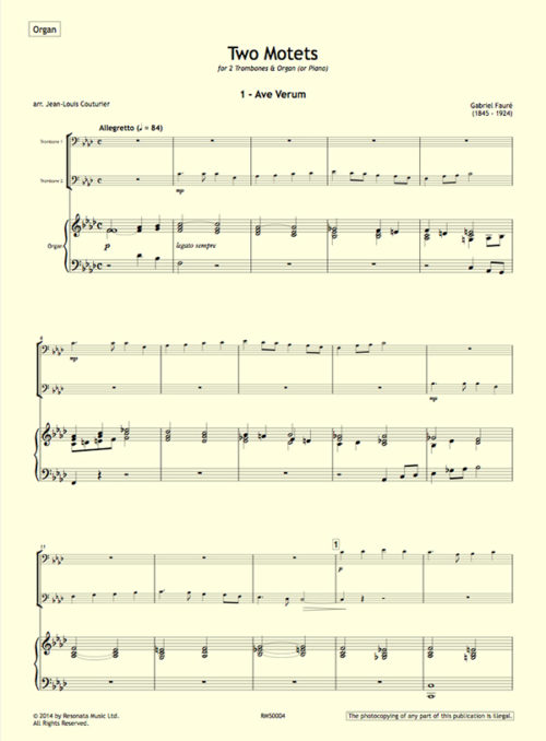 Faure - Two Motets troms first page