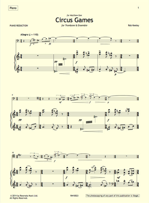 Keeley - Circus Games first page (piano reduction)