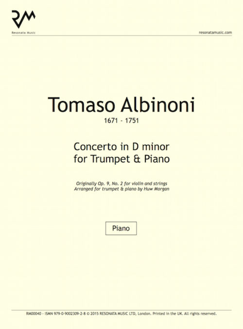 Albinoni - Concerto in D minor inner cover