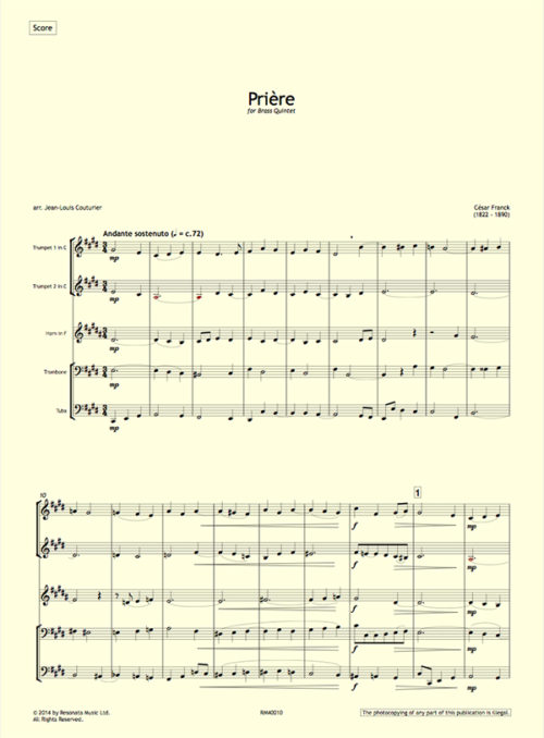 Franck - Priere first page