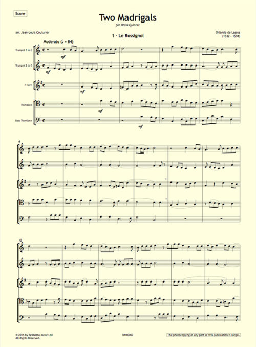 Lassus - Two Madrigals first page