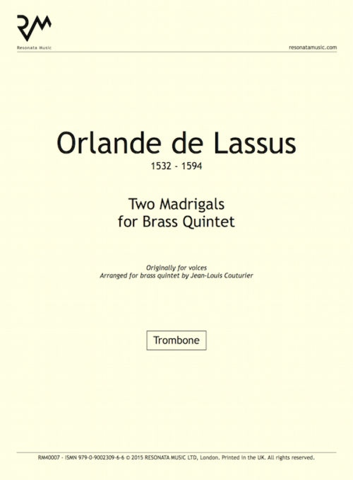 Lassus - Two Madrigals inner cover