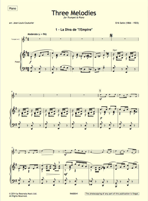 Satie - Three Melodies first page