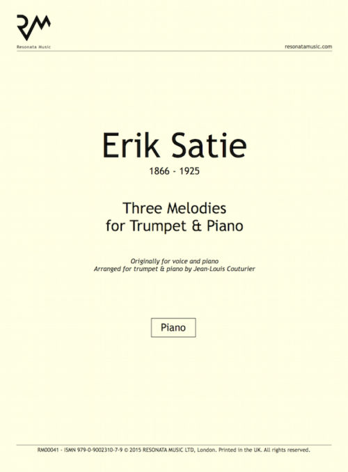 Satie - Three Melodies inner cover