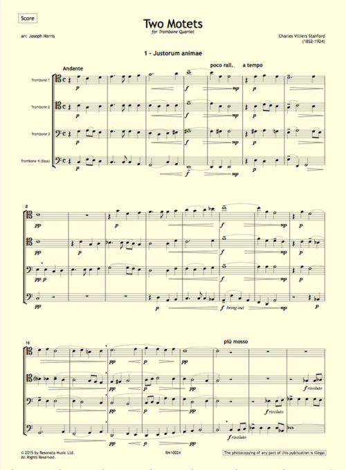 Stanford - Two Motets first page