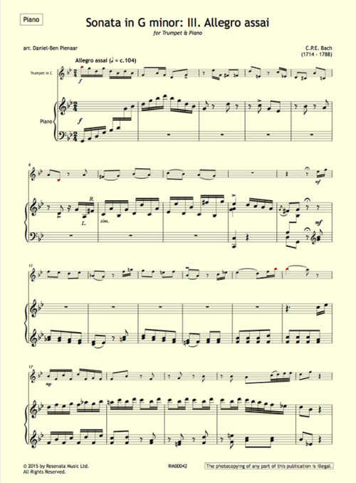 CPE Bach - Sonata first page