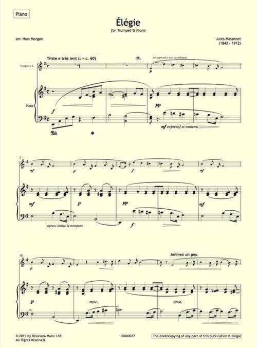 Massenet - Elegie first page