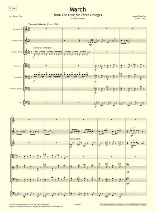 Prokofiev - March first page