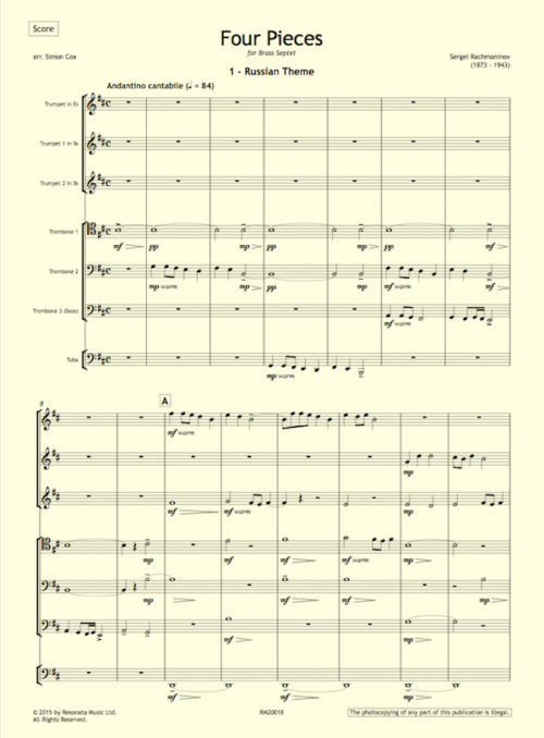 Rachmaninov - Four Pieces first page