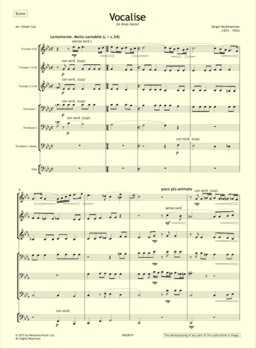 Rachmaninov - Vocalise first page