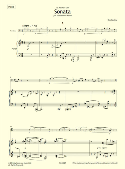 Keeley - Trombone Sonata first page
