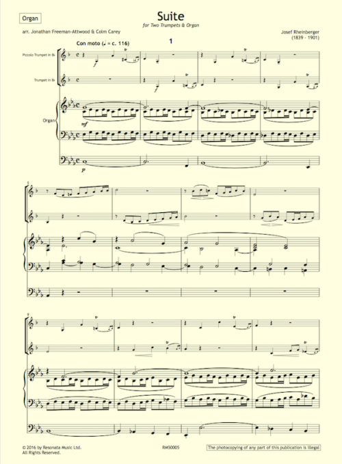 Rheinberger - Suite first page