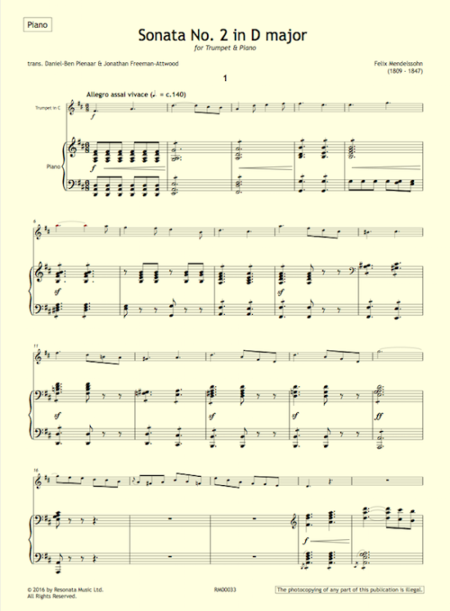 Mendelssohn - Sonata 2 first page