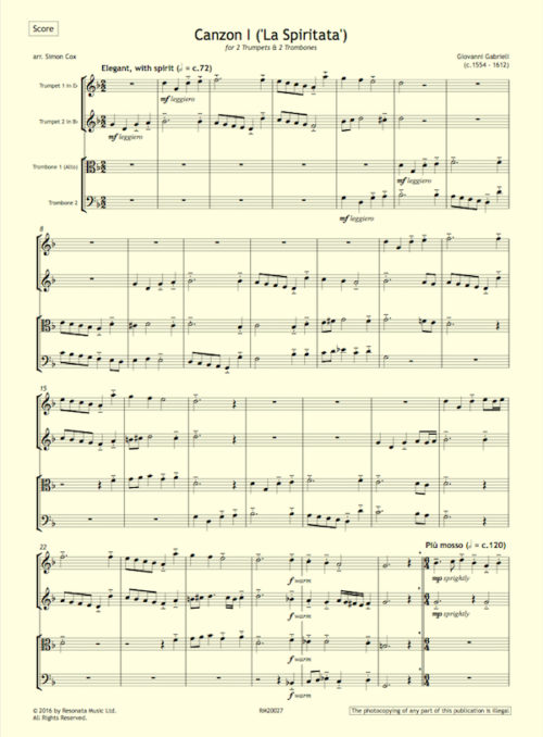 Gabrieli - Canzon I first page