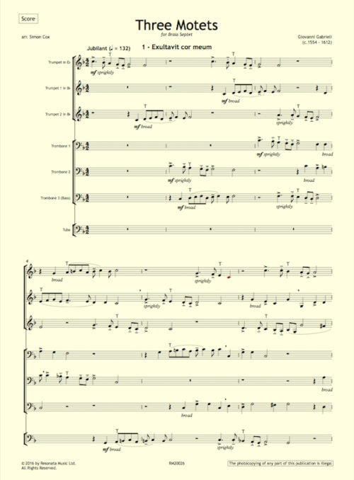 Gabrieli - Three Motets first page