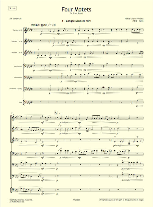 Victoria - Four Motets first page