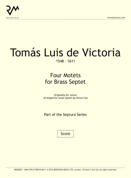 Victoria - Four Motets inner cover