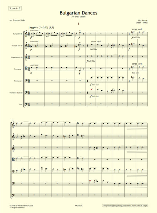 Bartok - Bulgarian Dances first page