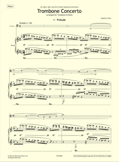 Hicks - Trombone Concerto first page