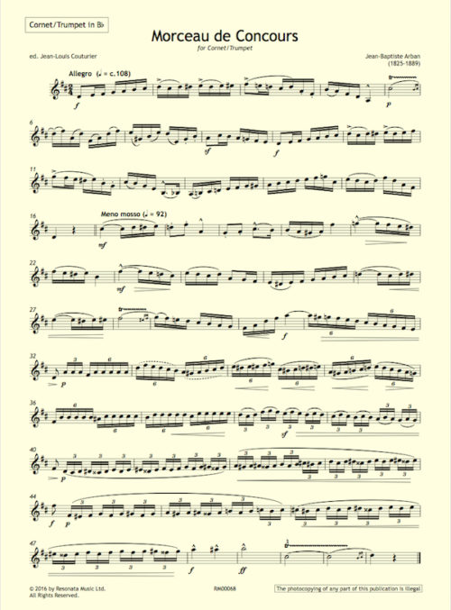 Arban - Morceau first page