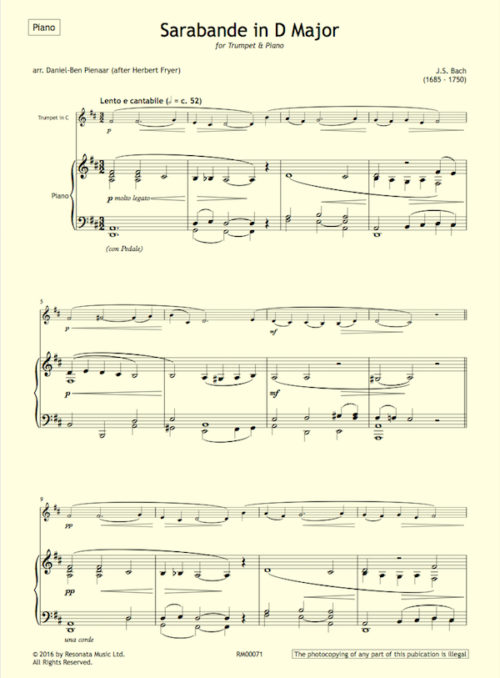 Bach - Sarabande Fryer first page