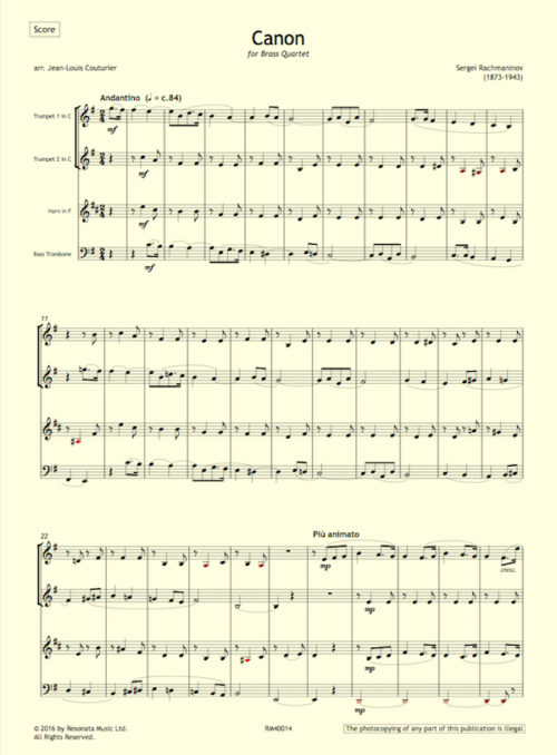 Rachmaninov - Canon first page