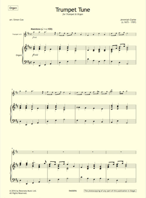 Clarke - Trumpet Tune first page