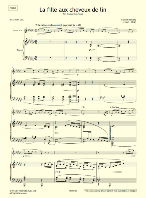 Debussy - La fille first page