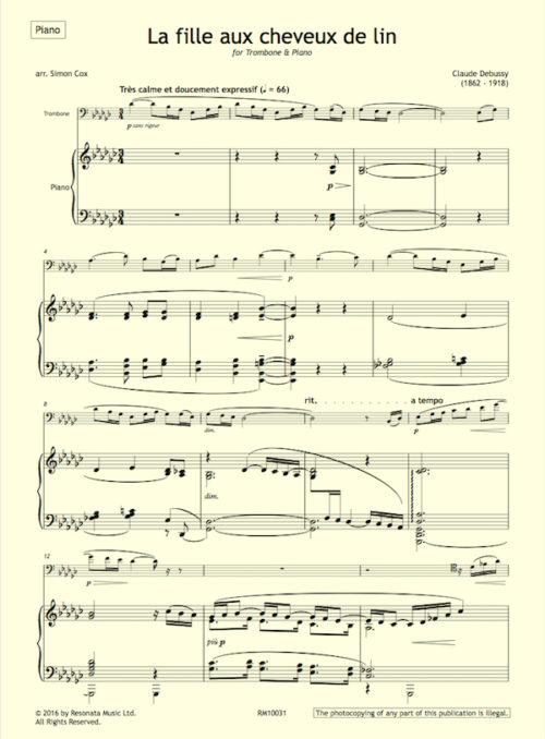 Debussy - La fille trombone first page
