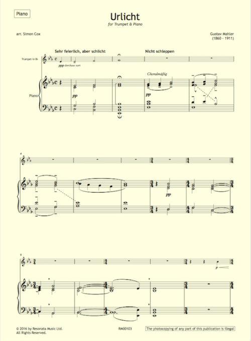 Mahler - Urlicht first page