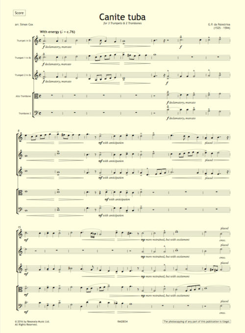 Palestrina - Canite first page