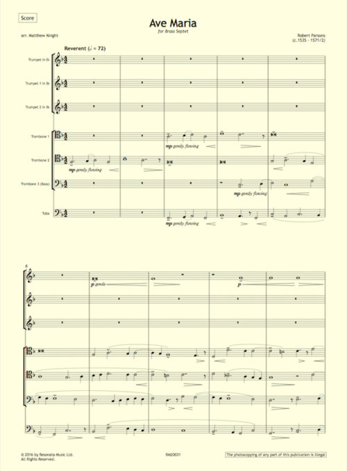 Parsons - Ave Maria first page