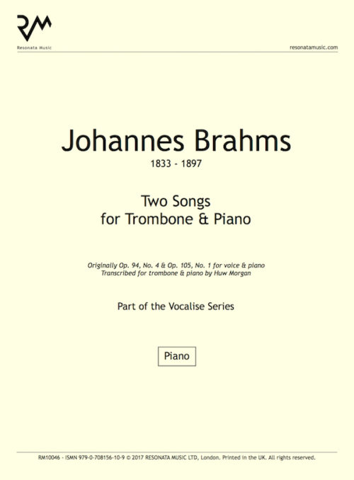 Brahms - Songs Trom title page
