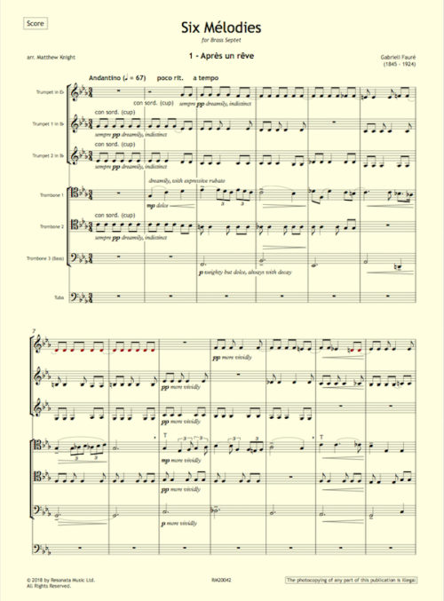Faure - Melodies first page